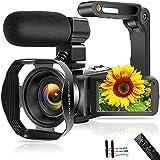 Videokamera 4K 48MP Camcorder mit WiFi 3,0-Zoll Touchscreen Nachtsicht Videokamera mit Mikrofon,Handstabilisator,Gegenlichtblende und Pausenfunktion für YouTube
