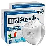 20 Mascherine Filtranti Monouso FFP2 NR Realizzate in TNT di colore bianco, ad alta efficienza Elastici auricolari per la massima comodità e semplici da indossare Conforme allo standard europeo EN 149:2001+A1:2009 Prodotto Made in Italy e marchio CE