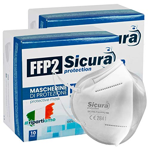 Eurocali 20 Mascherine Protettive FFP2 Certificate CE - Made in Italy Mascherine sigillate singolarmente
