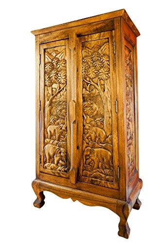 Massivholz Sideboard Chang I - 100x58cm Kommode aus Akazie mit handgeschnitzten Elefantenmuster (kolonial)