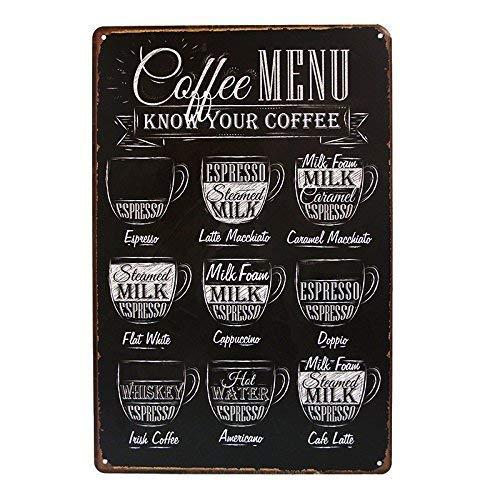 SIGNCHAT Café MENU Ken Uw Koffie TIN Teken Oude Muur Metalen Schilderen Art Decor Metalen Tin Teken 8X12 inch