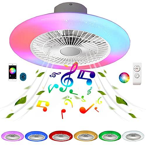 Ventilador Color Air Sin Aspas Pequeño Lampara Ventilado Techo con Luz LED Altavoz Bluetooth Música RGB Colores Plafon Ventilador de Techo con Iluminación Regulable Mando a Distancia Silencioso 72W