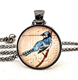 Blue Jay Pendant Woodland Forest Bird Necklace
