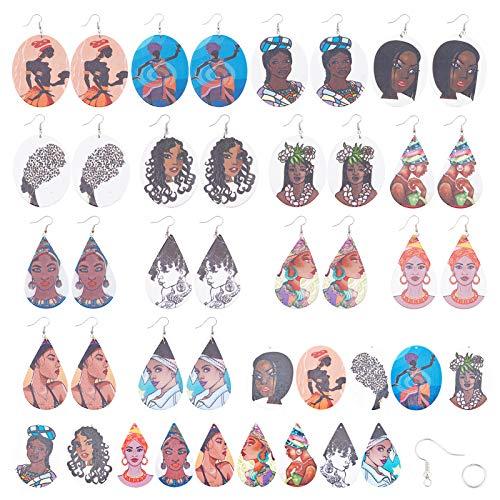 SUNNYCLUE 14 par de Pendientes Colgantes de Madera Haciendo Mujeres Africanas Pendientes de Madera con Lágrimas de Colores Mezclados Cuelgan Grandes Colgantes de Madera Impresos Ganchos para
