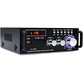 Wireless Bluetooth 5.0 Stereo Amplifier System – 200W Hi-Fi Dual Channel Sound Power Audio Receiver w/USB, SD Card, FM Radio for Home Speakers and Theater Entertainment with Remote Control