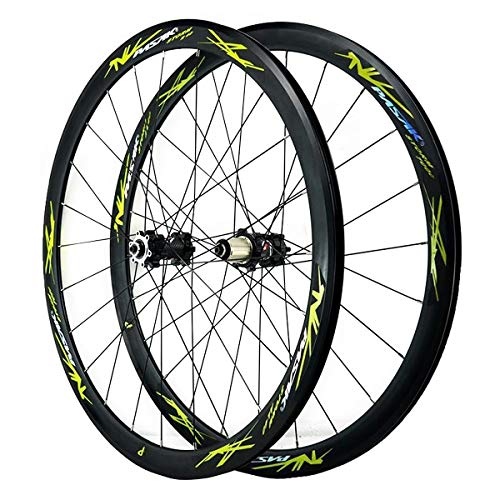 ZFF 700C Road Bike Wheelset Cyclocross Road Disc Brake Front Rear Wheel V/C Brake 40MM Double Wall 7-12 Speed (Color : Black, Size : Thruaxle)