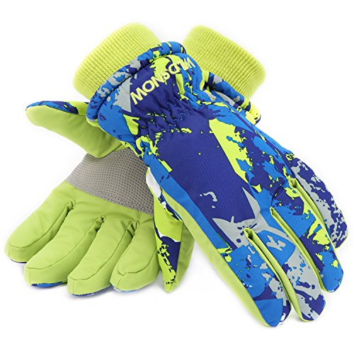 Ski Gloves,RunRRIn Winter Warmest Waterproof and Breathable Snow Gloves for Mens,Womens,ladies and Kids Skiing,Snowboarding(Green-Orange-L)