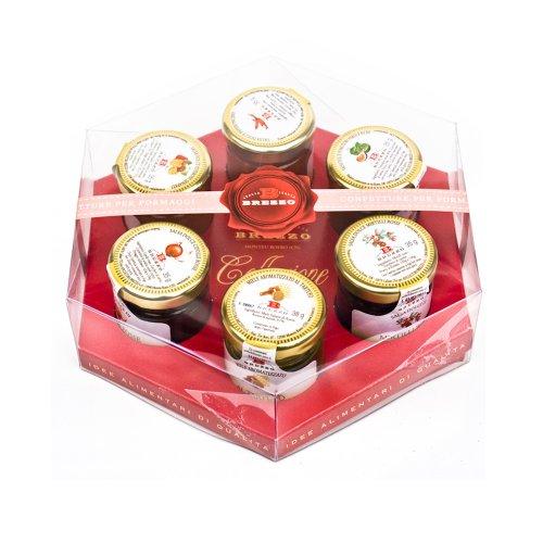Brezzo Collezione 6 Vasetti di Salse per Formaggi, ai Fichi, Pere, Cipolle (40 Grammi per Singolo Vasetto)