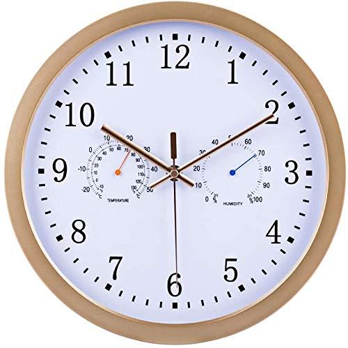 MLL 30 cm Radio Reloj de Pared Silent Modern Radio Clock Reloj de Pared Ultra silencioso con termómetro e higrómetro, Dorado, 30 x 30 x 4 cm
