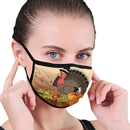 Comfort Polyester Mouth Cover Women & Men Windproof Anti-Dust Mouth Shields with Adjustable Elastic Strap for Outdoor Activity, Thanksgiving Day Cute Turkey Pumpkin
