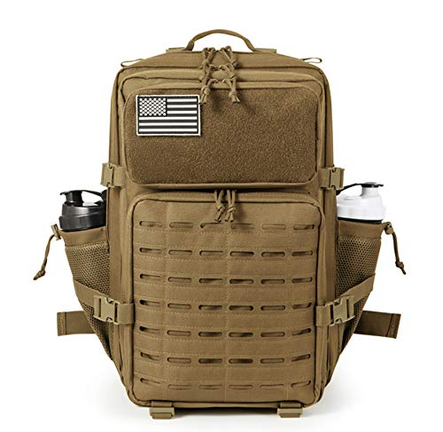 ELITEX Mochila 45L 2021 Táctica Militar Bandera USA Impermeable para Crossfit Caza Aire Libre Deportes Gimnasio Portatil Oxford 900D (Khaki)