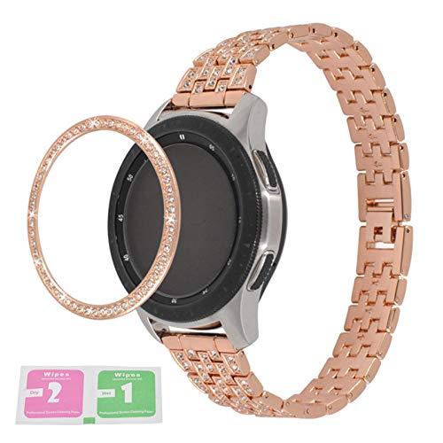 Aniceday - Anillo de bisel compatible con Samsung Galaxy Watch 42/46 mm, Gear S3 Frontier/Gear S3 Classic Smartwatch – Carcasa de acero inoxidable con protección antiarañazos, cubierta adhesiva