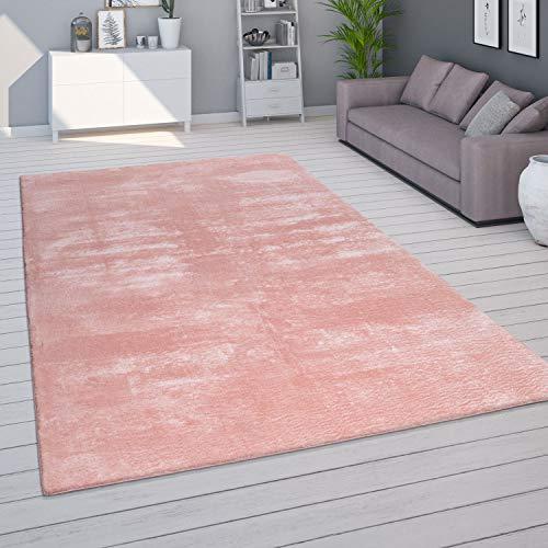 Paco Home Teppich für Wohnzimmer Einfarbig Waschbar Soft Kurzflor, Grösse:80x150 cm, Farbe:Rosa