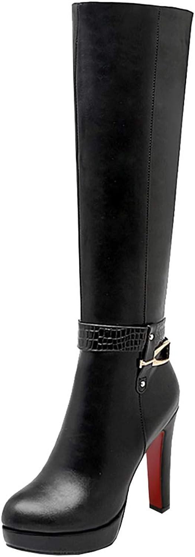 Artfaerie Womens Thin Knee High Platform Heel Boots Long Block Heel Boots Winter Boots