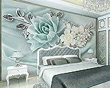 Tapeten Anpassbare Wandbild Mintgrün Perle Blume Wohnzimmer Schlafzimmer Tv Hintergrund Wand 3D Diy Kreative Seidentuch Dekoration 300 (B) X210 (H) Cm