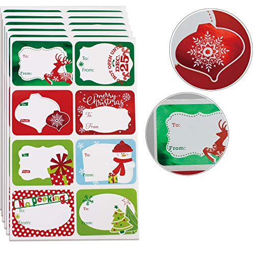 80-Count Foil Christmas Tags Sticker,8 Jumbo Designs - Xmas to from Christmas Sticker Name Tags Write On Labels - Holiday Present Labels