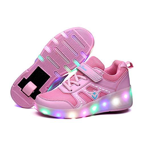 JESU LED Schuhe Mit Rollen Für Kinder, Blinkende Rollschuhe, Einzelrad Schuhe Mit Rader, Leuchtend Skates, Bequeme Atmungsaktive Schuhe,Rosa,33