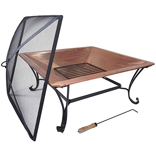 "Titan 33"" Square Solid 100% Copper Fire Pit Bowl Wood..."