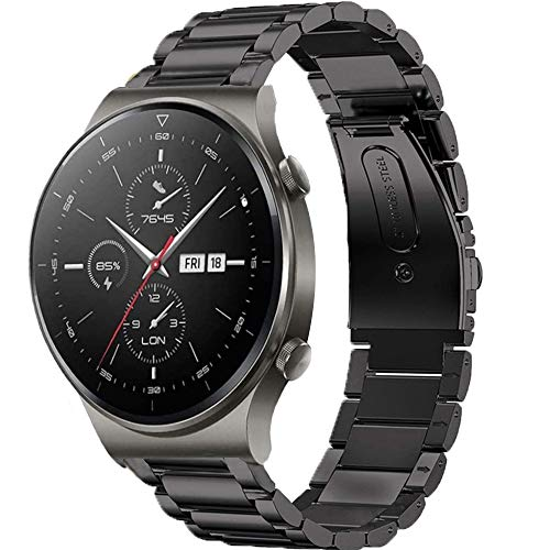 LvBu Armband Kompatibel mit Huawei Watch GT 2 Pro, Classic Edelstahl Uhrenarmband für Huawei Watch GT2 Pro Smartwatch (schwarz)