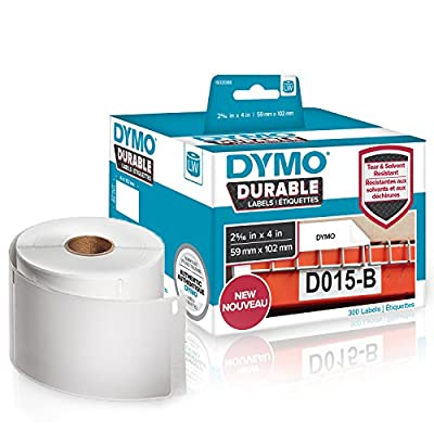 """DYMO LW Durable Industrial Labels for LabelWriter Label Printers, White Poly, 2-5/16"""" x 4"""", Roll of 300 (1933088)"""