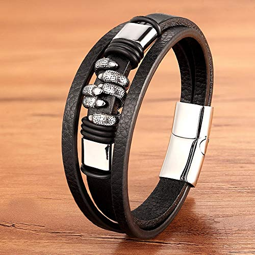 URNOFHW Encanto de Moda de Cuero Genuino magnética Pulseras de Plata de Color Negro del Oro de la joyería de los Hombres Cuerda Trenzada del Punk Rock de la Mano de los brazaletes