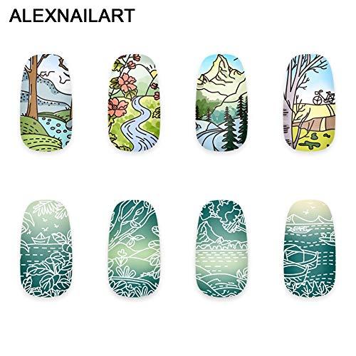 Alexnailart Nail Art Stamping Plaques Modèle d'image avec des motifs de paysages naturels pour bricolage Manucure Imprimer Stamping Outils de transfert