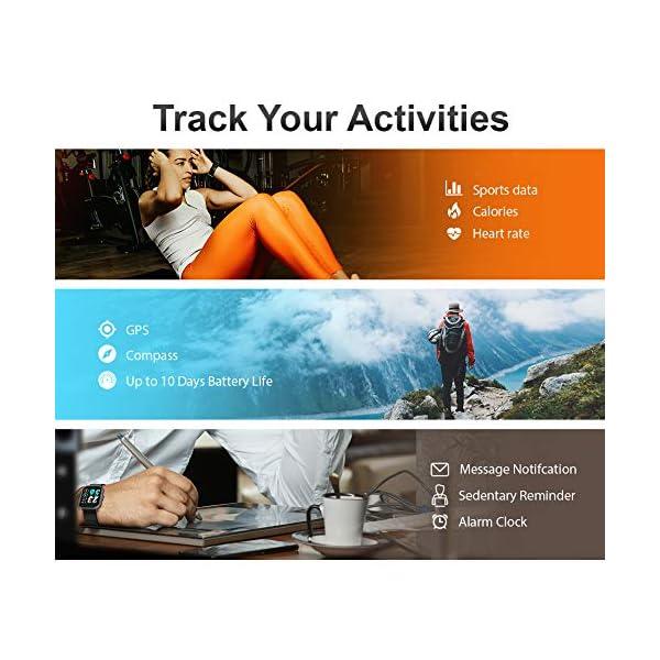 MOTOK - Reloj inteligente inteligente para hombre y mujer, 5 ATM, resistente al agua, frecuencia cardiaca y oxígeno… 5