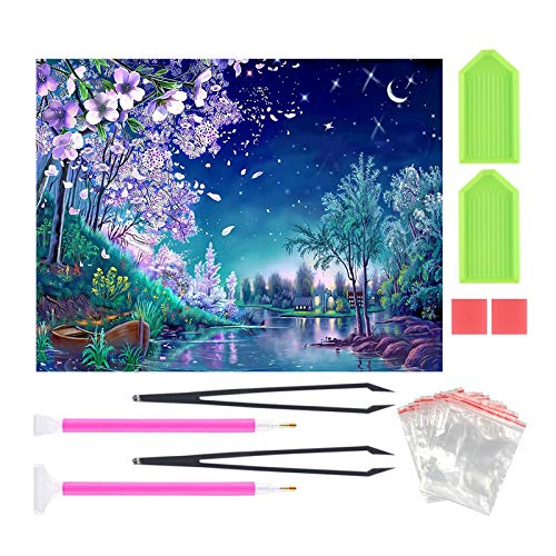 5D DIY Diamond Painting by Number Kits for Adults Kids Full Drill Crystals Diamond Embroidery Rhinestone Painting Craft Kit Home Decor Wall Sticker Moonlight Creek Stream 16X12inch
