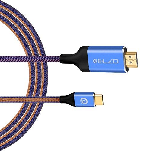 ELZO USB C naar HDMI-kabel (4 K @ 60 Hz), 1,8 m USB 3.1 type C naar HDMI-kabel (Thunderbolt 3 compatibel) voor MacBook Pro 2018/2017, iMac 2017/MacBook Air 2018, Galaxy Note 9/S8, Huawei Mate 20 Pro/P20, meer
