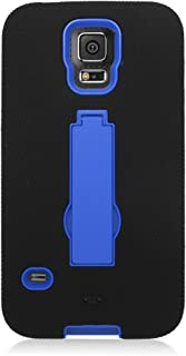 Eaglecell - Compatible with Samsung Galaxy S5 - Hybrid Armor Case w/Stand + Screen Protector - ZZ0 Blue