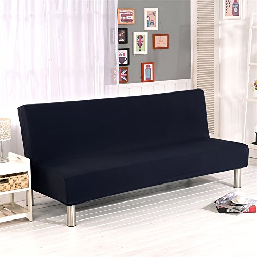 """Solid Colour Armless Sofa Bed Cover Polyester Spandex Stretch Futon Slipcover 3 Seater Elastic Full Folding Couch Sofa Shield fits Folding Sofa Bed Without Armrests 80"""" x 50"""" in (Black)"""