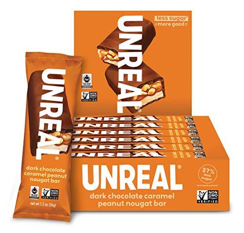 UNREAL Dark Chocolate Caramel Peanut Nougat Bars   70% Organic Ingredients, Fair Trade, Non-GMO   No Corn Syrup, Sugar Alcohols, Soy   12 Large Bars