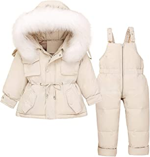 Toddler Baby Girls Two Piece Snowsuit, Cute Winter Hooded Puffer Down Jacket Coat with Ski Bib Pants