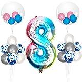 Herefun 23 Piezas Foil Globo Número Azul Arcoiris Gradient kit, Gigante Numeros 0 1 2 3 4 5 6 7 8 9, para La Boda Aniversario Bienvenida Al Bebé, Cumpleaños Fiesta Decoración Adultos y Niños (8)