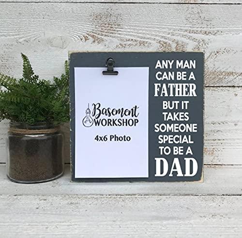 by Unbranded Marco de fotos para el día del padre, bloque de fotos, marco de clip - regalo para papá, regalo para padre adoptivo - regalo para papá - cartel de madera
