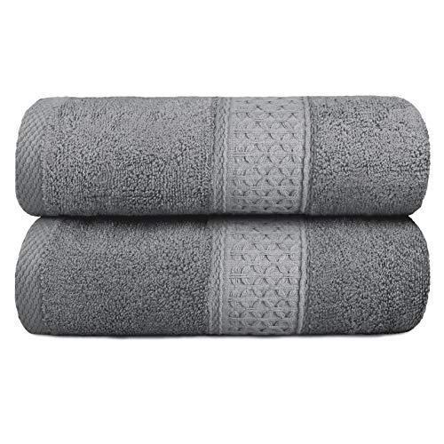 Yoofoss Asciugamano da Bagno 100% Cotone 2 Pezzi Telo da Doccia 70x140 cm Assorbente Biancheria da Bagno Bath Towel Asciugamano ospite Asciugamani per la Sauna per la casa e l'hotel Grigio
