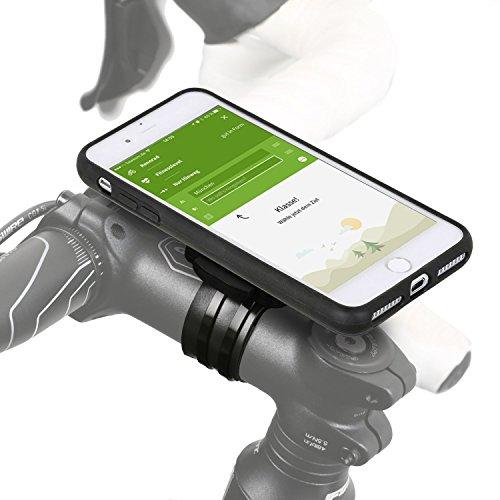 QuickMOUNT 3.0 fietshouder compatibel met iPhone 8 Plus / 7 Plus Bike Kit met case en regenhoes (telefoonhouder, oplaadkabel en hoofdtelefoonaansluiting) zwart/mat