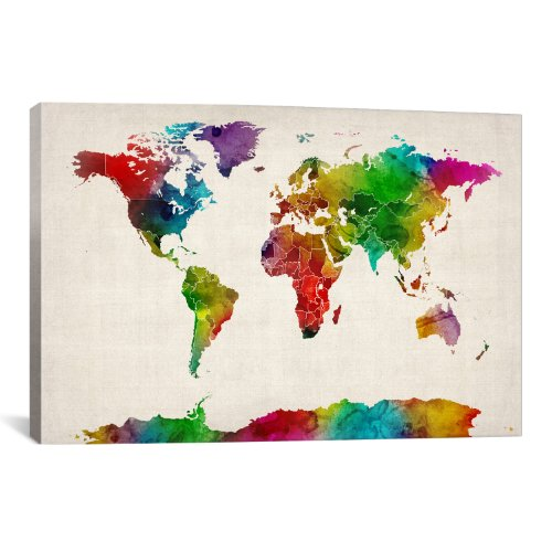 iCanvasART Watercolor Mapof TheWorld III by Michael Tompsett Canvas Art Print, 26 by 18-Inch