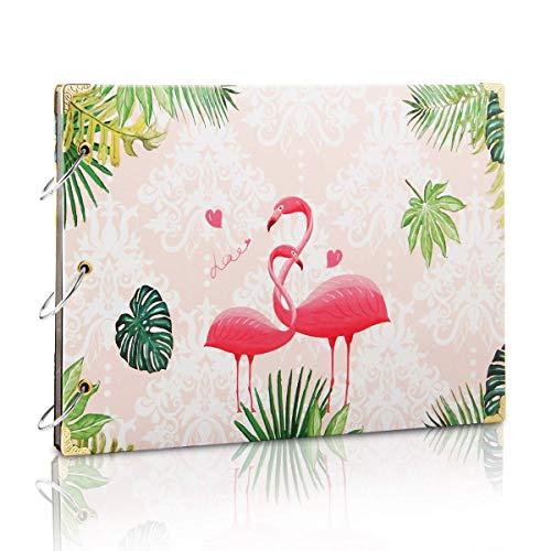 ThxMadam Selbstgestalten Fotoalbum Scrapbook Album Foto Buch Hochzeit Gästebuch Vintage Fotobuch Schwarze Seiten für Weihnachten Geburtstag Jahrestag Geschenk für Mutter Frau Mann Freund (Flamingo)