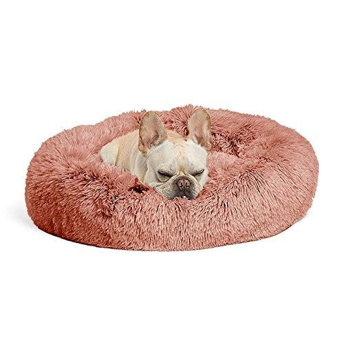 Huisdier-bed herfst en winterpluche ronde huisdier-nest warm-pad kleine slinger, grootte: 60 cm (beige) pluche zwinger roze