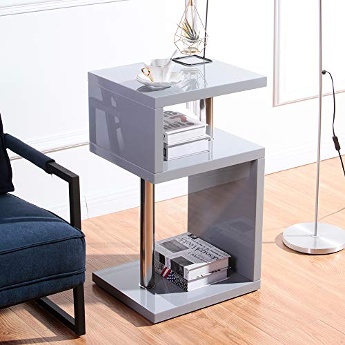 GOLDFAN High Gloss Side End Table S Shape Coffee Table with 2 Tier Storage Shelves Bedside Tables for Living Room Lounge,Grey