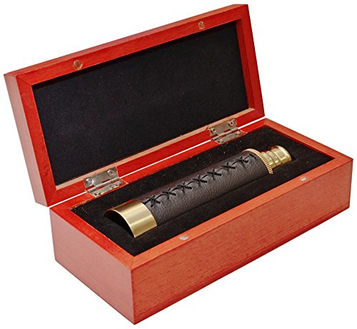 Levenhuk Catalejo Spyglass SG2 Antique con Estuche de Madera; Proporciona Imágenes Nítidas y Brillantes de Objetos Distantes