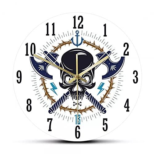 YYYFF Reloj de Pared Moderno con Emblema de Pirata y Calavera agresiva, Estilo Vintage, Jolly Roger, decoración del hogar, Tatuaje, Cabeza Muerta, Reloj de Pared silencioso Barrido