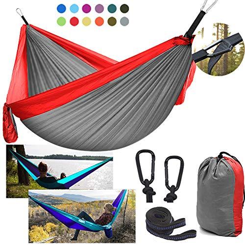 DDSGG Hamaca Ultra Ligera para Viaje y Camping 300X200cm, Hamaca Doble de paracaídas 300 kg Capacidad de Carga Nylon de Transpirable y de Secado rápido para mochilero, Camping