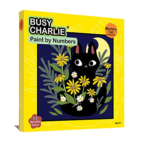 Busy Charlie DIY Paint by Numbers for Kids and Adults Beginner, Color Cat Paint by Numbers Kit with 8x8 inch Framed Pre Drawn Canvas
