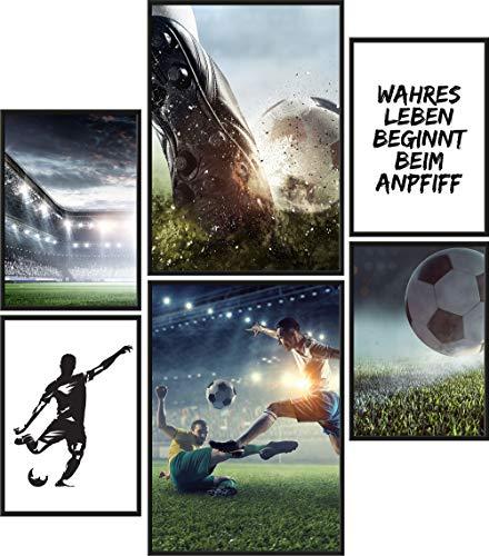 Papierschmiede® Mood-Poster Set Fußball   6 Bilder als stilvolle Wanddeko   2X DIN A4 und 4X DIN A5   Sport Kicker Anpfiff - ohne Rahmen