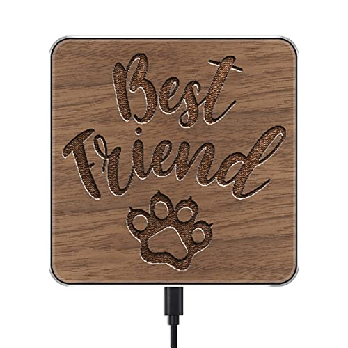 Wireless Charging Adapter with Carved Kitty Best Friend Pattern Charger for iPhone 12 Pro Max/11 Pro Max/AirPods/Galaxy S21/S20 Plus