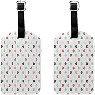 2 PCS Soft luggage tag Polka Dots Home Decor Collection Soft Pastel Colored Polka Dots on Nursery Decor Geometric Shape Hoop Theme Quickly find the suitcase Multi