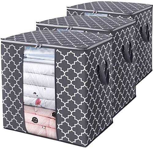 WISELIFE Storage Bags [3 Pack/100L] Large Blanket Clothes Organization and Storage Containers for Comforters,Bedding, Foldable Organizer with Reinforced Handle, Clear Window, Sturdy Zippers,Gray