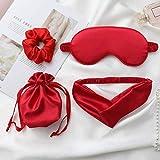 IYOU Ensemble de masques de sommeil brillants en satin rouge pour les yeux occultants de nuit pour dormir, voyager, sieste, bandeau et chouchous assortis pour femmes et filles